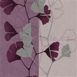 Vliesové tapety na stenu 4ever - listy Ginkgo fialovo-strieborné