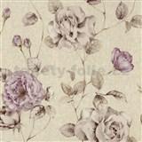 Tapety na stenu Antique - ruže fialové na svetlo hnedom podklade
