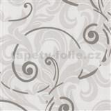 Tapety na stenu Baroque - barokový vzor bielo-sivý