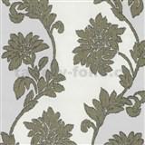 Tapety na stenu Baroque - kvety sa štruktúrou textilu zlato-sivé