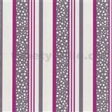 Tapety na stenu Confetti - pruhy fialovo-ružové