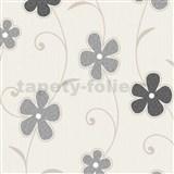 Tapety na stenu Confetti - kvety čierno-sivé - ZĽAVA