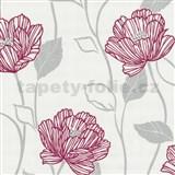 Vliesové tapety Fresh Start červené štylizované kvety