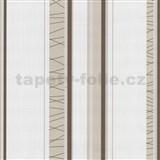 Tapety na stenu Novara pruhy - hnedo-biele