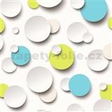 Vliesové tapety 3D guličky biele, modré, zelené