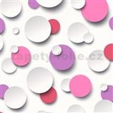 Vliesové tapety 3D guličky biele, ružové, fialové