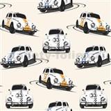 Papierové tapety Volkswagen Beetle biely, modrý, oranžový
