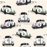 Papierové tapety Volkswagen Beetle biely, ružový, zelený