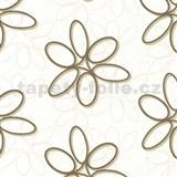 Papierové tapety na stenu Be You - abstraktné kvety hnedé MEGA ZĽAVA