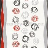 Papierové tapety na stenu Be You - abstraktné kruhy červeno-šedé