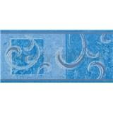 Samolepiace bordúra secesný vzor modrý 10 m x 10 cm