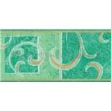 Samolepiace bordúra secesný vzor zelený 10 m x 10 cm