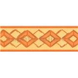Samolepiace bordúry kosoštvorca oranžovej 5 m x 6,9 cm