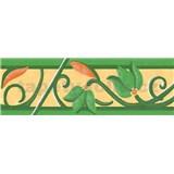 Samolepiace bordúry kvety s ornamentom zelenej 5 m x 6,9 cm