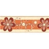 Samolepiace bordúry kvety červeno-okrovej 5 m x 6,9 cm