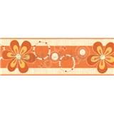 Samolepiace bordúry kvety oranžovej 5 m x 6,9 cm