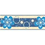 Samolepiace bordúry kvety modré 5 m x 6,9 cm