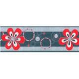 Samolepiaca bordúra - kvety červené 5 m x 6,9 cm