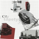 Tapety na stenu Code Red - retro Londýn v červenej