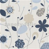 Tapety na stenu Delight - modré design kvety