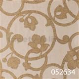 Tapety na stenu Light Story - secesný vzor zlatý na béžovom podklade
