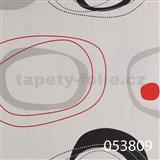 Tapety na stenu Ginas - elipsy čierno-červené na biele štruktúre