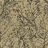 Vliesové tapety na stenu Graphics Alive - konáre stromov čierne na okrovom podklade