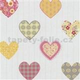 Papierové tapety na stenu Happy Kids 2 - srdiečka žlté