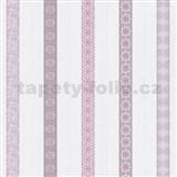 Papierové tapety na stenu Happy Kids 2 - zdobené prúžky ružové