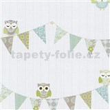 Papierové tapety na stenu Happy Kids 2 - sovy modro-hnedé