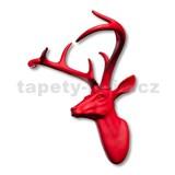 Dekorácia na stenu - hlava jeleňa s parohami - červená 43 x 33 x 23 cm