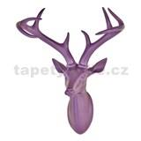 Dekorácia na stenu - hlava jeleňa s parohami - fialová 43 x 33 x 23 cm