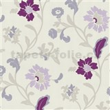 Tapety na stenu Jewel - moderné kvety - fialové