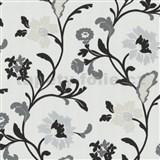 Tapety na stenu Jewel - moderné kvety - čierne