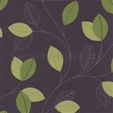 Tapety na stenu Jewel - lístie - zelené - hnedý podklad