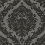Tapety na stenu Classico - barokový vzor čierny na sivom podklade