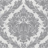 Tapety na stenu Labyrinth - barokový vzor sivý na bielom podklade