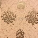 Tapety na stenu La Veneziana zámocký vzor damašek zlatý na tehlovom podklade