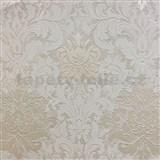 Tapety na stenu La Veneziana 3 zámocký vzor damašek biely na svetlo hnedom podklade