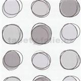 Tapety na stenu Lofty - kruhy hnedo-fialové
