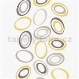 Tapety na stenu Lofty - elipsy žlto-hnedé - ZĽAVA