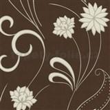 Vliesová tapeta Nordica - biely kvet s vlnitou stonkou - hnedá