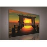 Obraz na stenu západ slnka nad mólom 75 x 100 cm