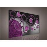 Obraz na stenu srdcia s fialovou ružou 75 x 100 cm