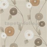 Vliesové tapety na stenu Patchwork - kvety okrovo-hnedé