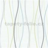 Vliesové tapety na stenu Patchwork - vlnovky modro-zelené