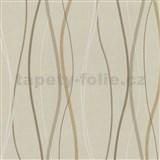 Vliesové tapety na stenu Patchwork - vlnovky okrovo-hnedé - SLEVA