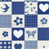 Detské tapety Playground - patchwork - modrý