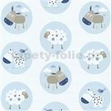 Detské tapety Playground - zvieracia farma - modrá