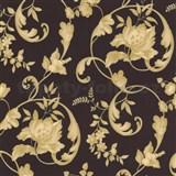 Tapety na stenu Poison - zámocký vzor - zlatý - hnedý podklad